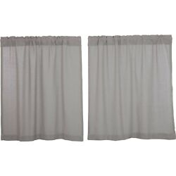 New French Country Farmhouse Shabby Gray Burlap Cafe Tiers Curtain 36 Long