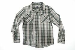Rvca Plaid Check Green Gray Small Regular Heavy Flannel Button Front Shirt New