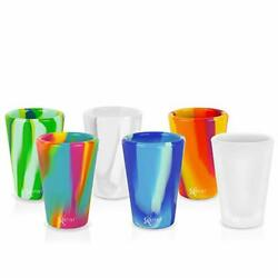 Silicone Shot Glasses Set Unbreakable Reusable 6-pack Tie-dye Variety