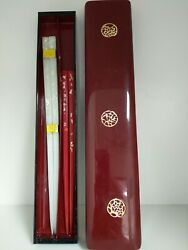 Vintage Japanese His And Her Wood Chopsticks With One Inlaid In Lacquer Box