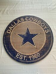 Dallas Cowboys Nfl 24 Round Distressed Sign Home Decor Man Cave Game Room New