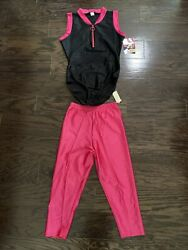 Nwt 1980's Rachel Mclish The Body Co Spandex Two Piece Leotard Workout Suit Pink