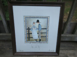 P. Buckley Moss Print Young Love Framed And Signed 606/1000 8.5 X 10.5 2000