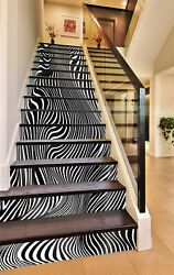 3d Zebra Texture 800na Stair Risers Decoration Photo Mural Decal Wallpaper Fay
