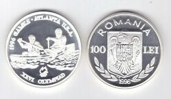 Romania Rare Silver Proof 100 Lei Coin 1996 Year Km131 Olympic Games Canoe