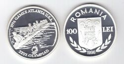 Romania Rare Silver Proof 100 Lei Coin 1996 Year Km132 Olympic Games Rowing