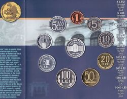 Romania Rare Proof 9 Dif Coins Set 1 - 5000 Lei + Medal 2003 Year Mint Bank Ps6