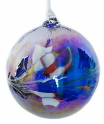 Large Hand Blown Art Glass Christmas Bauble / Witches Ball Blue