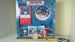 Peanuts Collector Holiday Snack Set 2 Mugs Cookie Plate In Original Packaging