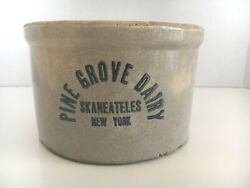 Rare Antique And039pine Grove Dairyand039 Stoneware Butter Crock Skaneateles Ny C.1920and039s