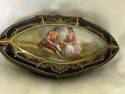 Stunning Antique Sevres Chateau De Tulleries Big Jewelry Box .signed
