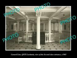 Old Postcard Size Photo Of Cunard Line Qsts Lusitania 2nd Class Entrance C1905