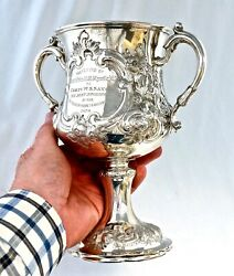 Solid Silver Welsh Trophy. Montgomeryshire Yeomanry Cavalry Best Swordsman 1870.