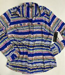 Relativity Women's Blouse Top 2x Button Long Sleeves Blue Speckleline Poly Nwt