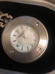 Harley Davidson Motor Cycles Pocket Watch W/ Chain Silver Tone Needs Battery