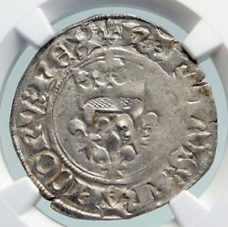 1380ad France King Charles Vi Antique Silver Old Gros Medieval Coin Ngc I91605