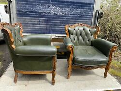 Antique Green Leather Library Chairs X 2