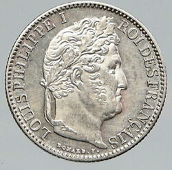 1847 A France Antique Vintage Wreath Old Silver 50 Centimes French Coin I91746