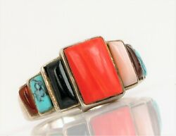 Sterling Silver Designer Signed Red Coral Turquoise Southwestern Ring Sz 9