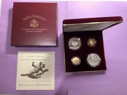 1997 Us Jackie Robinson Commemorative Gold And Silver Proof Set 4 Coin Rare B41
