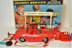 Vintage Johnny Service Gas Station Playset Toy With Car And Box Topper