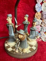 Vintage Civil War Inspired Small Table Lamp Blue Gray Colored Soldier Uniforms