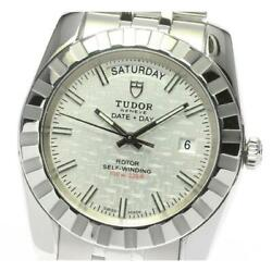 Tudor Classic 23010 Date Day Automatic Menand039s Silver Dial Ss From Japan [e0524]