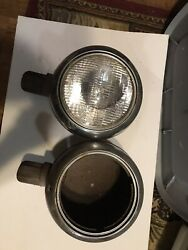 1940and039s International Truck Headlight Bucket Pair W/ Stands Rat Rod Ford Chevy