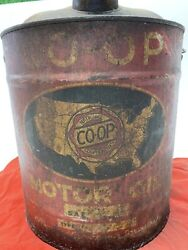 Vintage Farm Co-op Advertising Motor Oil Lubricant 5 Gallon Metal Can Coop A
