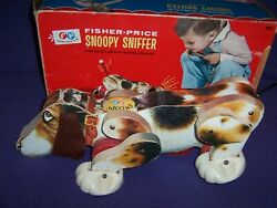 Vintage 1966 Fisher-price Snoopy Sniffer Pull Toy Dog With Original Box