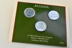 Littleton Coin Company 1943 Steel Penny Set 3 Pennies Unc