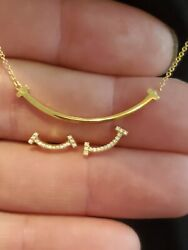 Authentic Fine 18k Rose Gold T Smile Pendant Necklace And Diamond Earrings