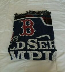 New Boston Red Sox 2013 World Series Championship Woven Tapestry Throw Blanket