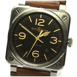 Bell And Ross Golden Heritage Br03-92 Automatic Mens Black Dial Ss Leather [e0525]