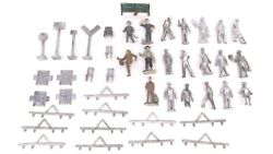Lot Of O Scale 2 Rail Metal Bench Fence Chair Signs Figures Train Parts Read