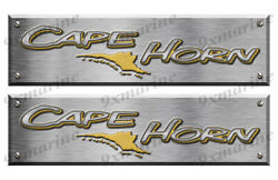 2 Cape Horn Boat Stickers Brushed Metal Look - 16 Long