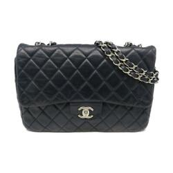 Auth Quilted Cc Shw Chain Shoulder Bag Lambskin Leather Blue 6209