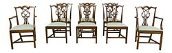 Lf52140ec Set Of 8 Councill Craftsmen Chippendale Mahogany Dining Room Chairs