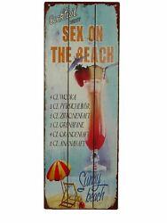 Tin Sign Sex On The Beach Cocktail Party Sunrise Diner Bar 14 3/16x5 1/8in