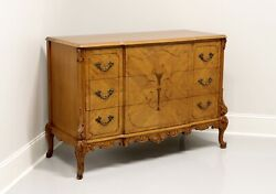 Antique Early 20th Century Inlaid Mahogany Marquetry French Country Dresser