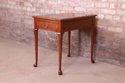 Baker Furniture Queen Anne Walnut And Burl Wood Tea Table