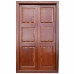 Large Antique Anglo Indian Teak Interior Double Door And Frame C. 1860