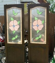 Vintage Victorian Wood Stained Glass Sliding Doors With Rollers. 24 X 77.5 P/u