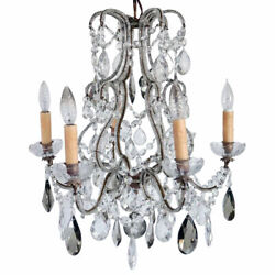 Vintage French Louis Xv Style Wrought Iron, Beaded, Crystal 6-light Chandelier