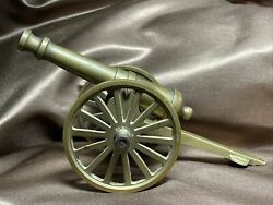 """Rare Vintage Large 8"""" All Brass Cannon Desk Paperweight Decor 5"""" Barrel Vg++"""