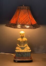 Antique Chinese Bronze Buddha As Lamp Vintage Good Condition And Design