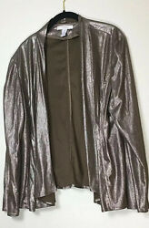 Chicoand039s Antique Gold Faux Suede Womenand039s Jacket With Metallic Gold Size 3