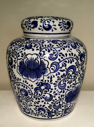 Medium Size Blue And White Ginger Jar Chinese Porcelain 6.5andrdquo Tall