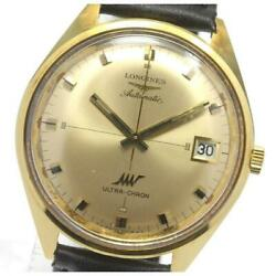 Longines Ultracron K18yg Cal.6651 Automatic Menand039s Gold Dial Leather [e0526]