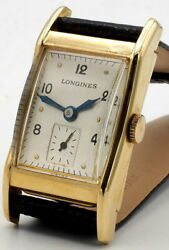 Vintage Longines Watch 17j 14k Gold Swiss 40and039s Cal 9l Runs Clean New Strap